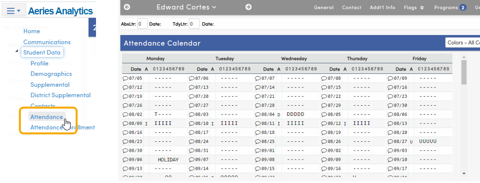 Analytics - Set Student and then navigate to Attendance page