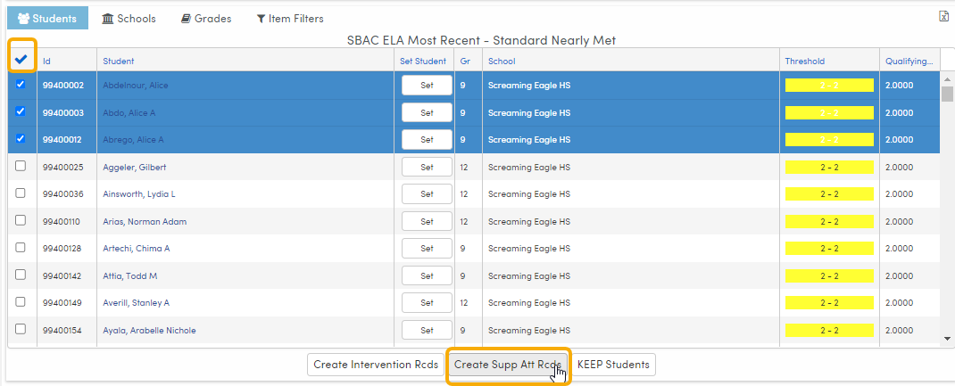 Analytics - select students and Create Supplemental Attendance records