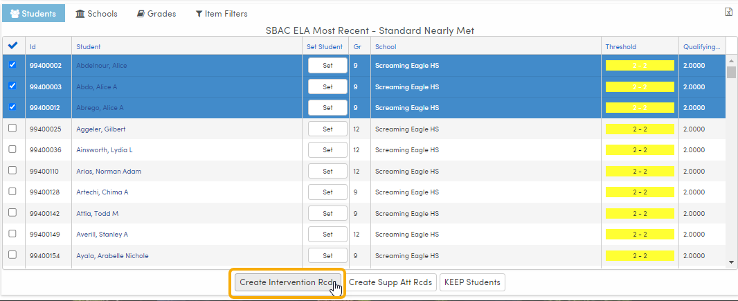 Analytics - select students and Create Intervention records