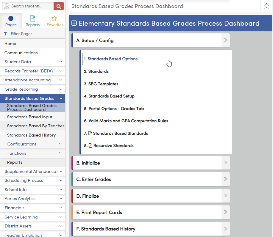 Standards Based Grades Process Dashboard