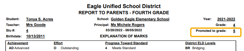 Standards Based Report Card - Promoted to next grade example