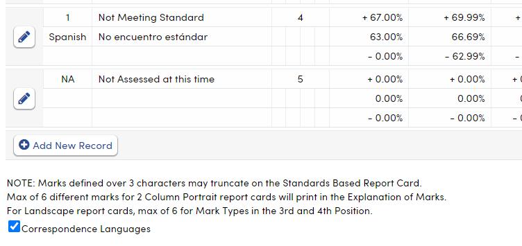 Standards Based Options - Valid Marks tab - Correspondence Language