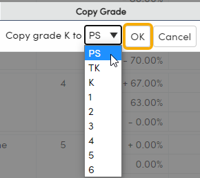 Standards Based Options - Valid Marks tab - select Grade to copy to example