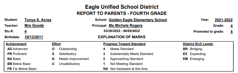 Standards Based Report Cards - Mark Type Legend example