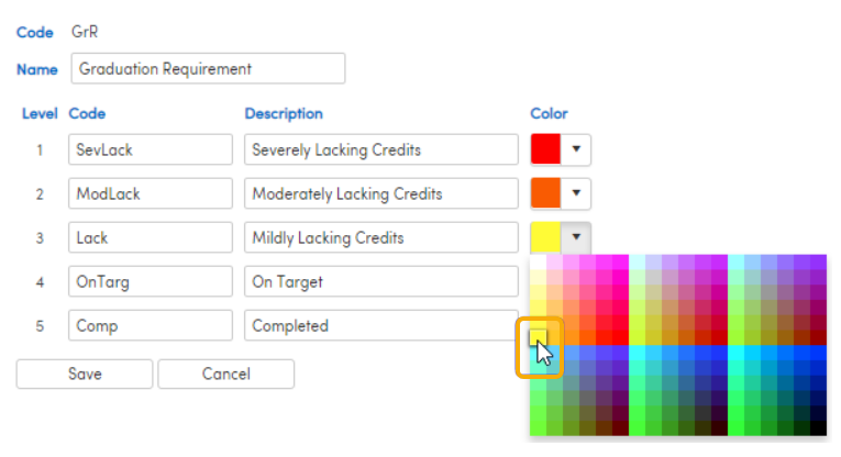 Level Code description screenshot