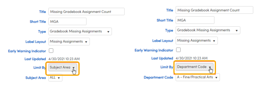 Indicator for Gradebook Missing Assignments