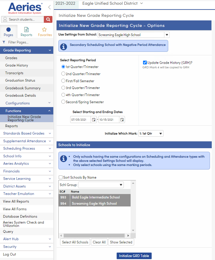 Initialize New Grade Reporting Cycle Options page