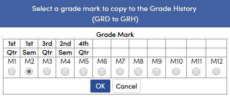 Copy to Grade History option