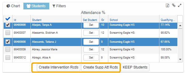 Create Intervention from Student list screenshot