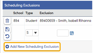 Add a new Scheduling Exclusion