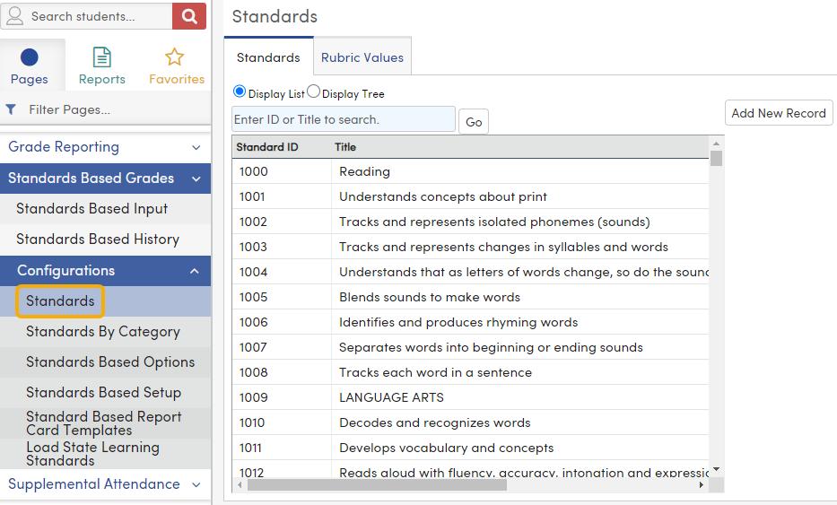Standards - Display List view