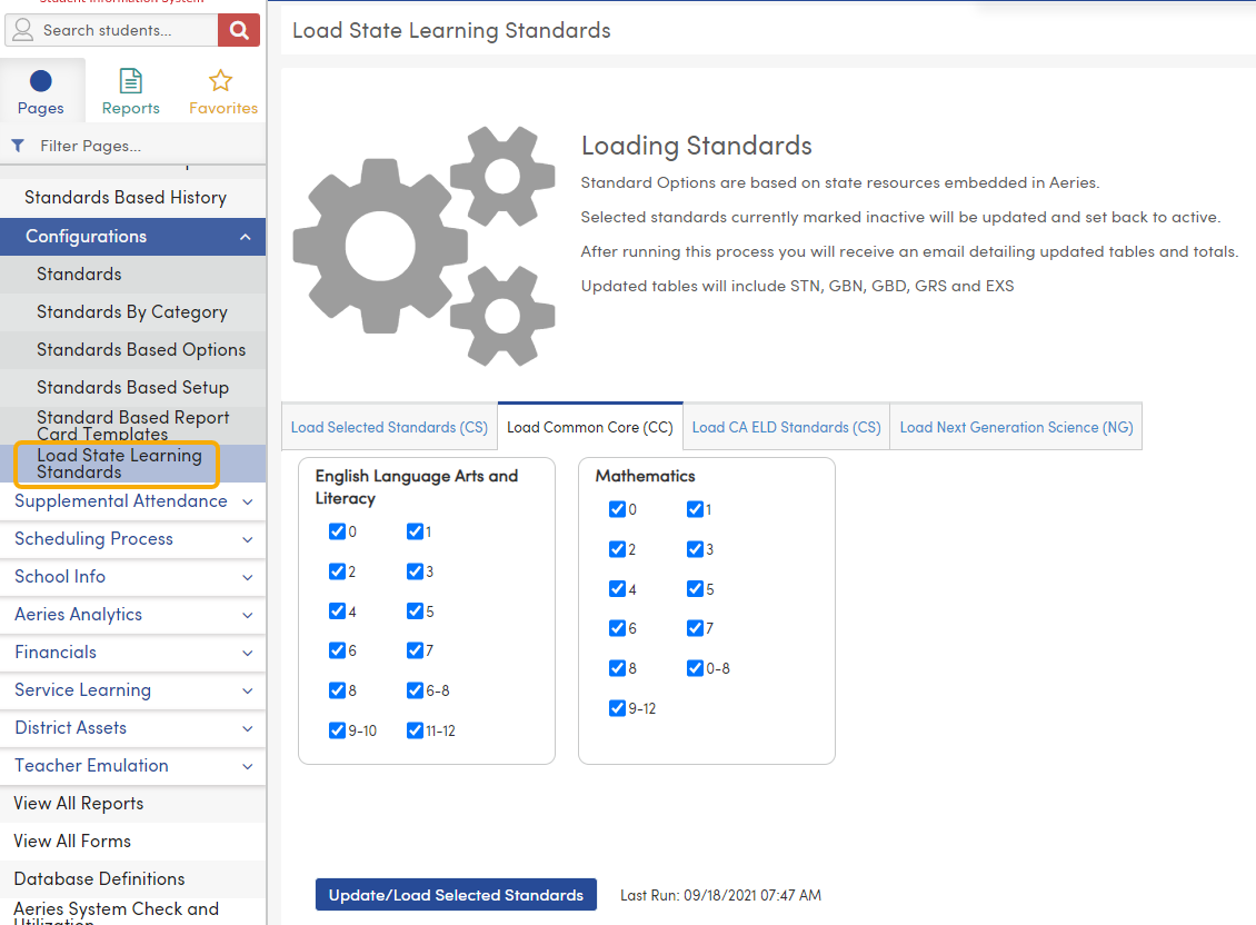 Load State Learning Standards - Load Common Core (CC) tab - California