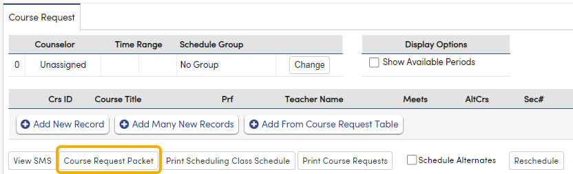 Add a Course Request Packet