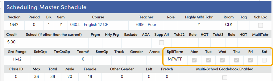 Split Terms on the Scheduling Master page
