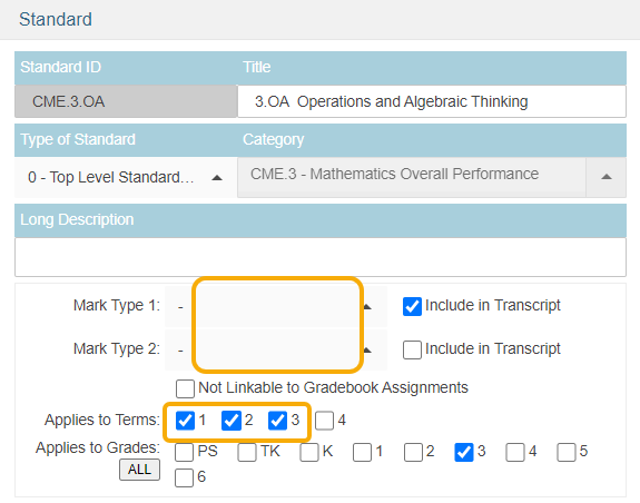 Standards - example of Apply to terms still selected when grades not reported for a standard