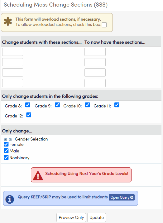 Scheduling Mass Change Sections page