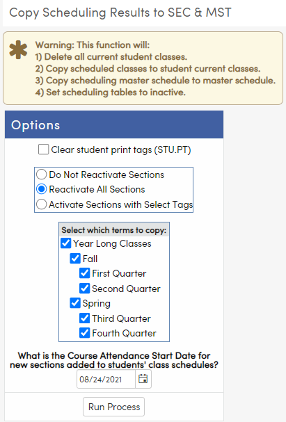 Copy Scheduling Results to SEC & MST page