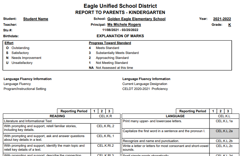 Standard Based Report Card Templates print preview of Kindergarten report card