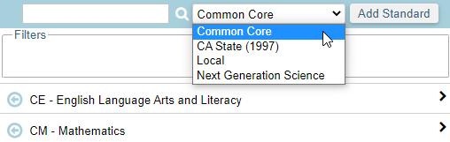 Standard Based Report Card Templates - Standards List - California