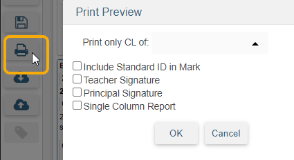 Standard Based Report Card Templates - Print Preview icon and options