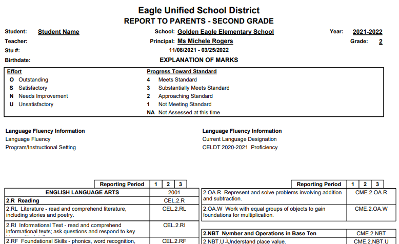 Standard Based Report Card Templates - Print Preview of 2nd grade report card