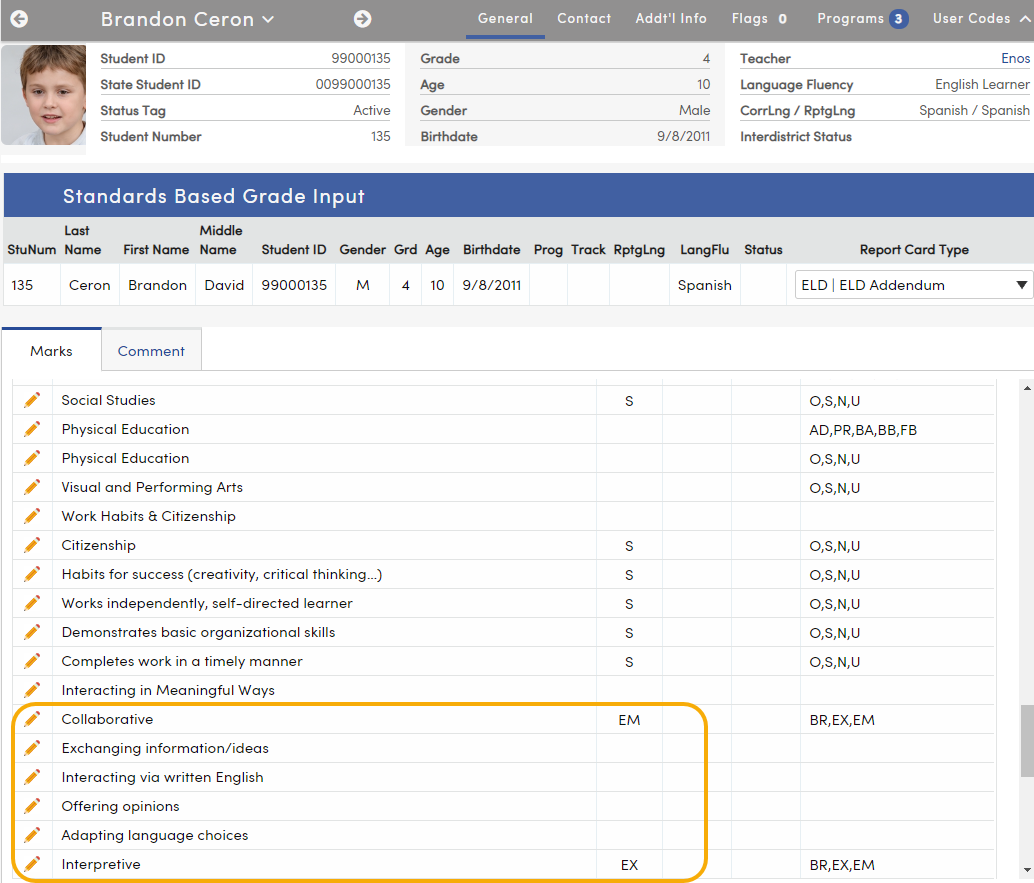 Standards Based Input - Add-On report card standards display after default report card standards