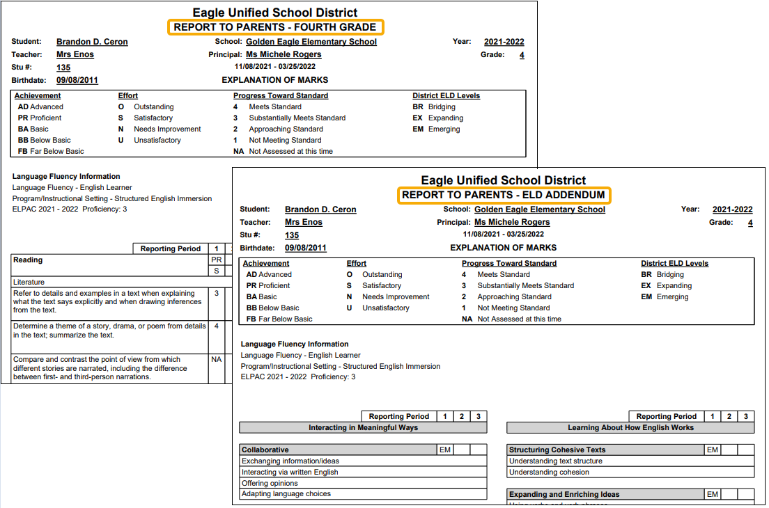Standards Based Report Card - Student with default and Add-On report card example