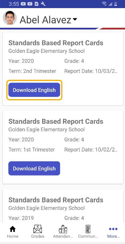 Mobile Portal App - Report Cards screen