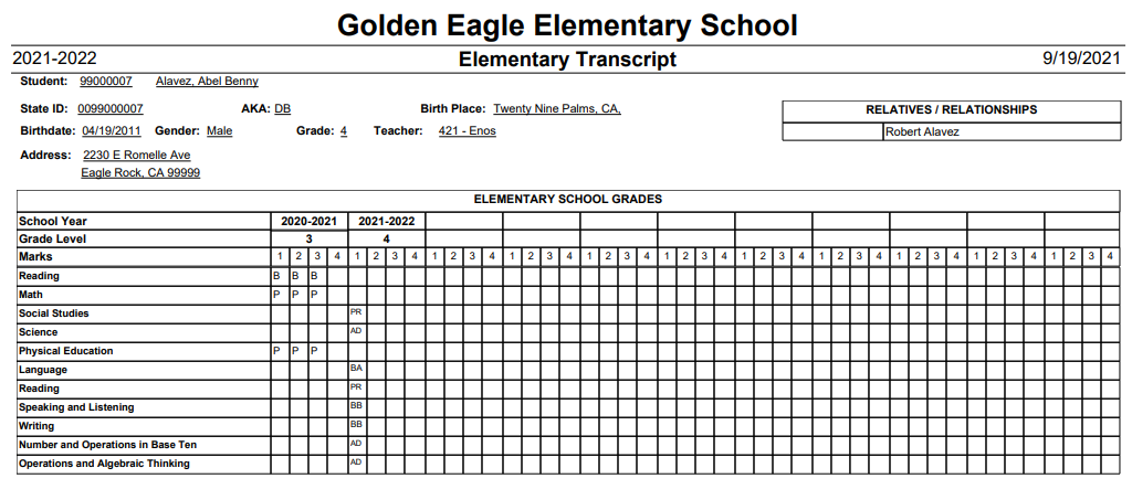 Elementary Transcript - Demographic information and Standard marks