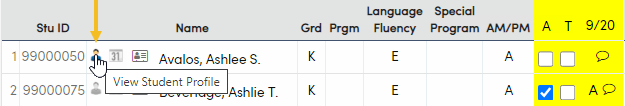 View Profile Icon on Student Attendance Page