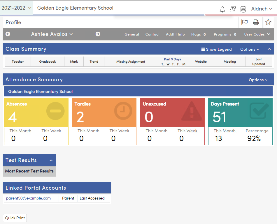 View Student Profile Page
