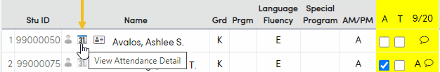 View Attendance Icon on Student Attendance Page