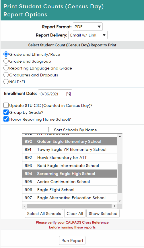 Student Counts (Census Day) Report options