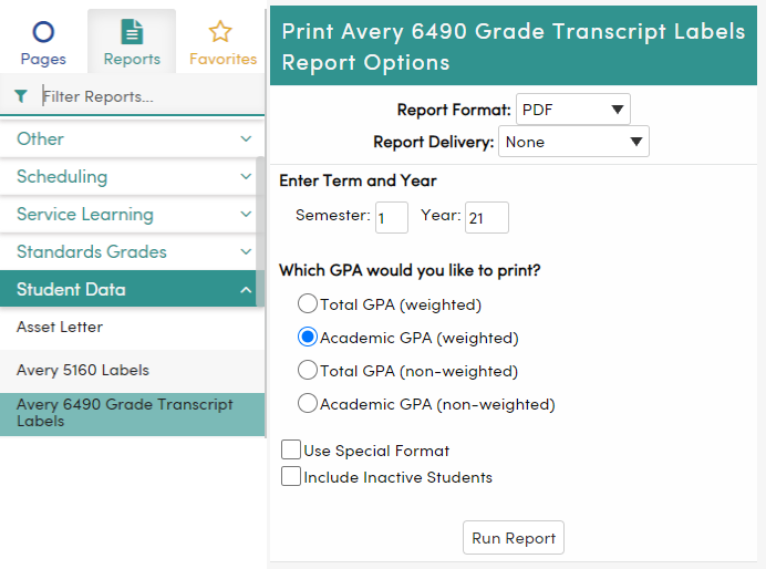 Avery 6490 Grade Transcript Labels Report Options Page