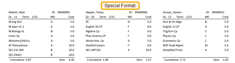 Transcript Label With Special Format