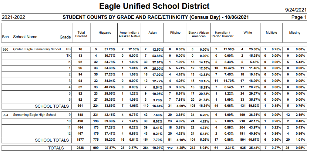 Student Counts Report by Grade and Ethnicity