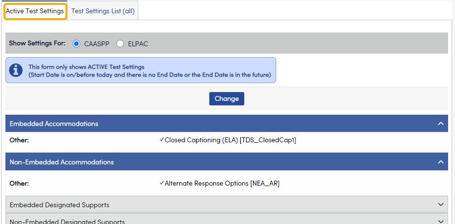 Test Settings - Active Test Settings tab
