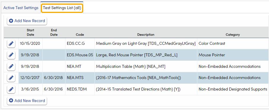 Test Settings - Test Settings List tab