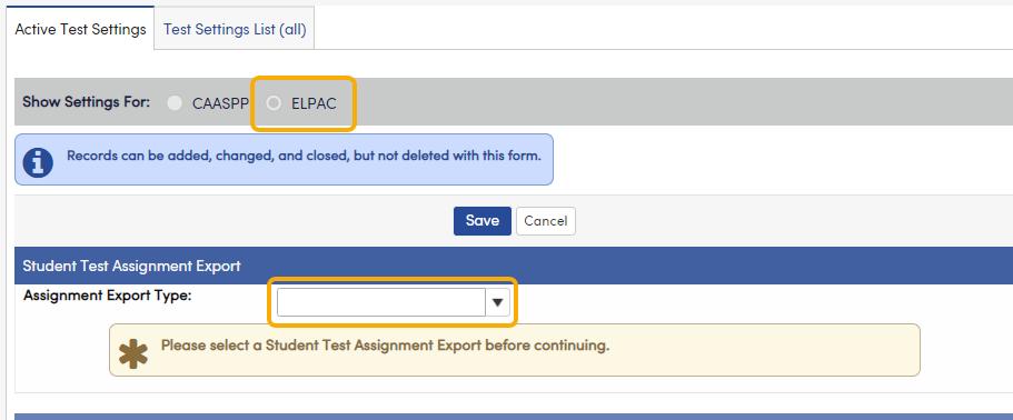 Test Settings - ELPAC button