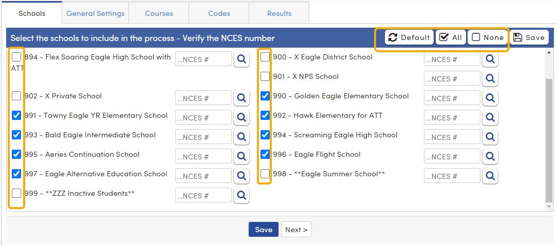 CRDC - Schools tab