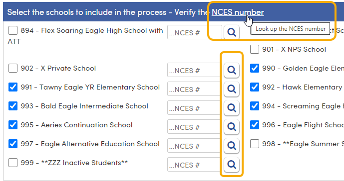 CRDC - Schools - NCES Number link and search buttons