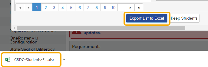 CRDC - Results tab - Student list - Export List to Excel button
