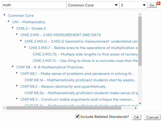 """Courses - Standards tab - search for a standard that contains """"math"""" in the description example - California"""