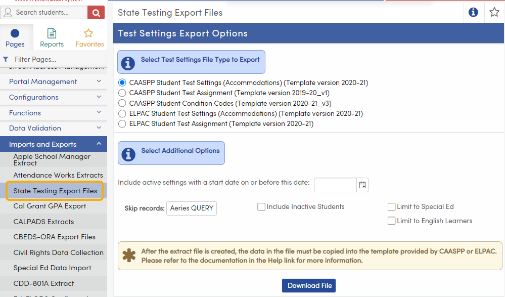 State Testing Export Files