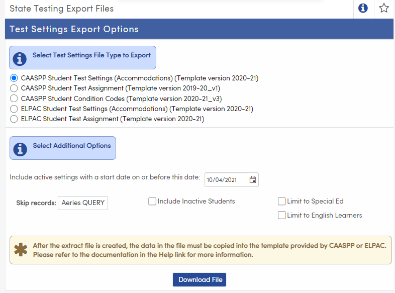 State Testing Export Files - CAASPP Student Test Settings option