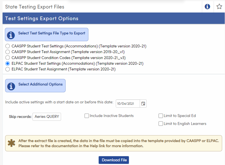 State Testing Export Files - ELPAC Student Test Settings option