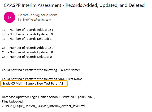Import Test Results - Completion Email