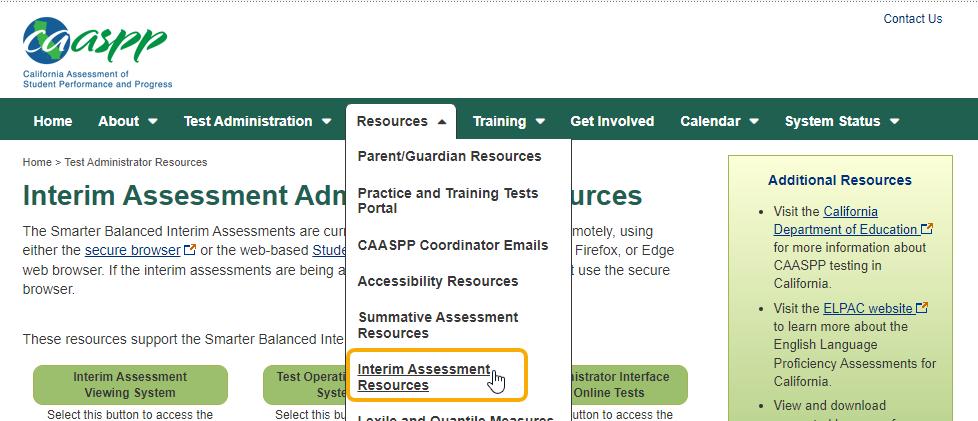 CAASPP - Interim Assessment Resources link
