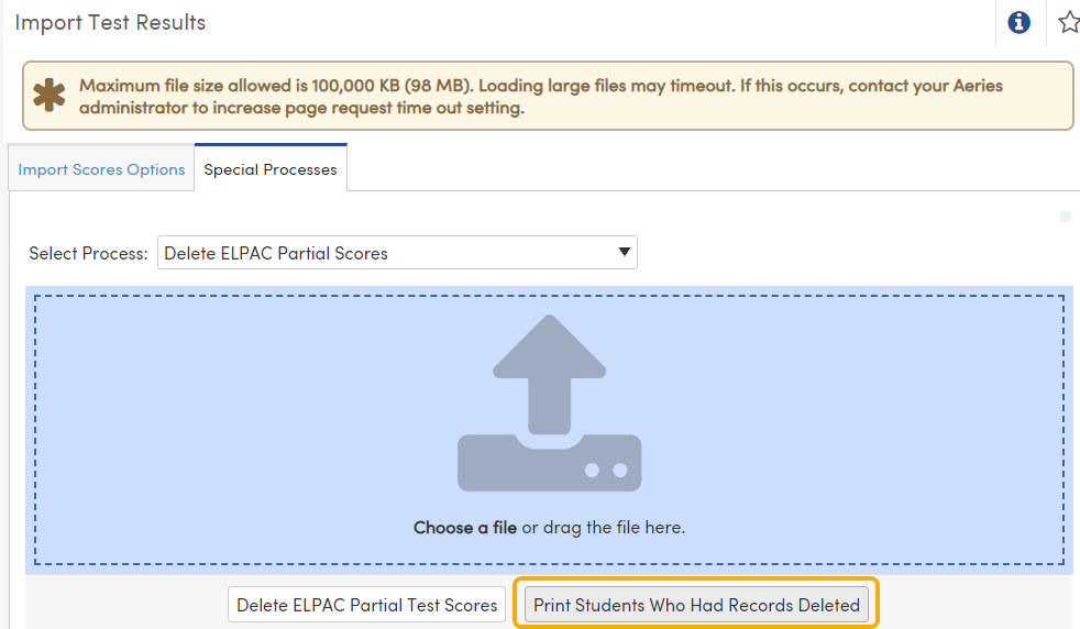 Import Test Results - Special Processes - Print Students Who Had Records Deleted button