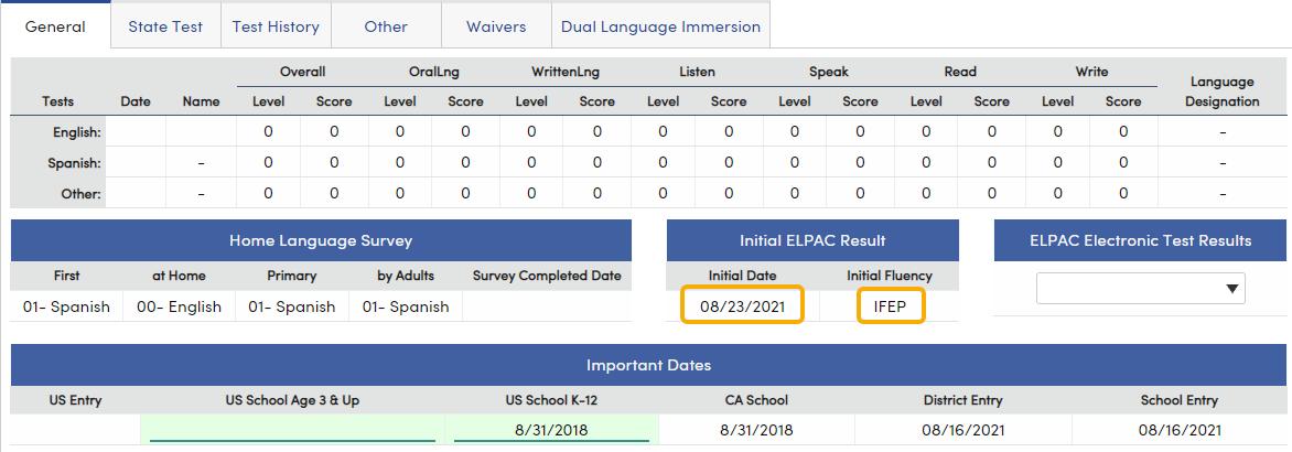 Language Assessment - General tab Initial ELPAC Result fields